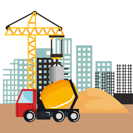 under construction mixer truck vehicle sand and crane building vector illustration