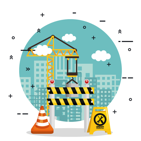 under construction barricade cone road crane board building vector illustration Ilustração
