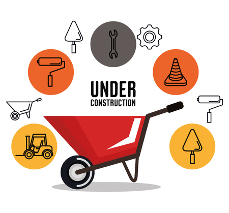 under construction wheelbarrow equipment tool icons background vector illustration