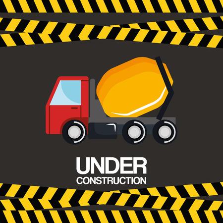 under construction truck mixer vehicle poster vector illustration