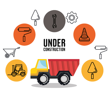 under construction truck tipper vehicle tools icon vector illustration