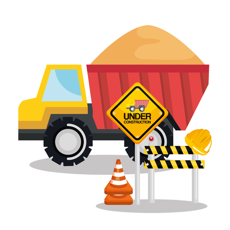 under construction tipper truck sand barricade sign road vector illustration Ilustração