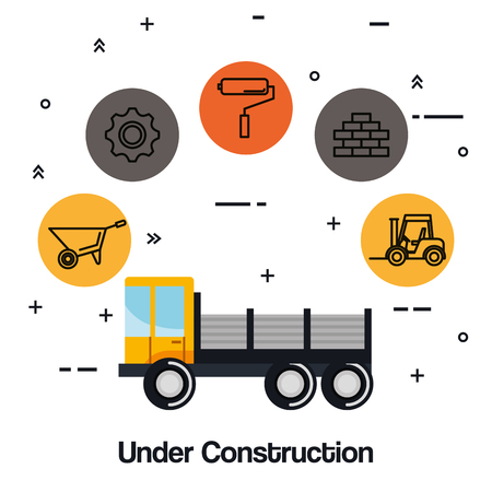 under construction truck vehicle equipment tool vector illustration
