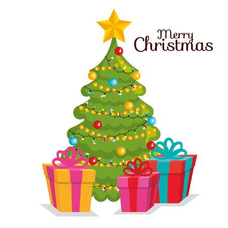 merry christmas pine tree decoration gift box wrapped vector illustration Ilustração