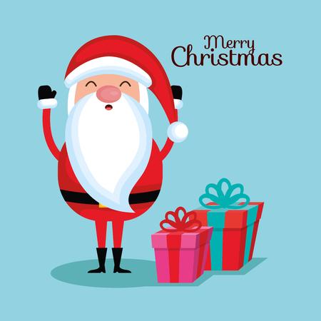メリー クリスマス サンタ クロース漫画ギフト ボックス ベクトル図