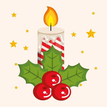 Velas de Navidad con ramas de abeto y bayas de acebo ilustración vectorial Foto de archivo - 84553888