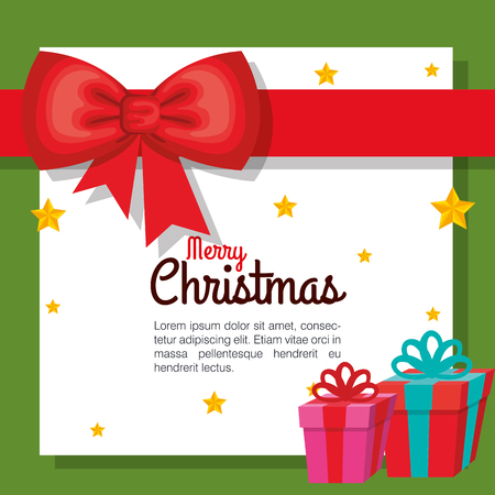 merry christmas colorful gift boxes fall stars decoration vector illustration