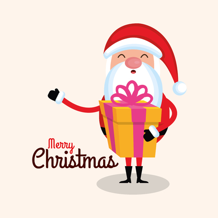 merry christmas santa claus cartoon gift box vector illustration Ilustrace