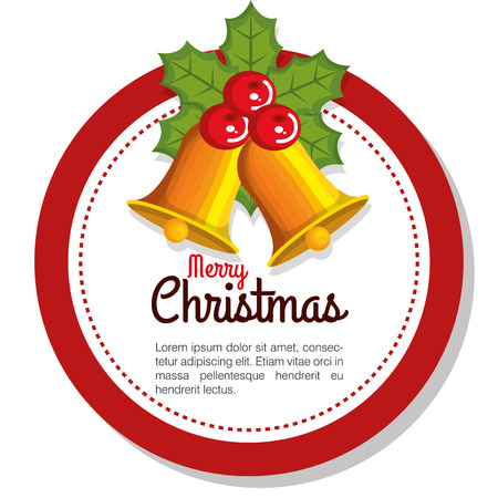 golden bell with red holly berry star christmas decoration vector illustration