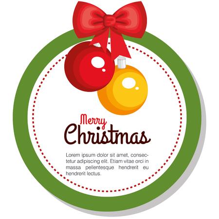 merry christmas balls hanging flower holly berry golden star vector illustration Ilustrace