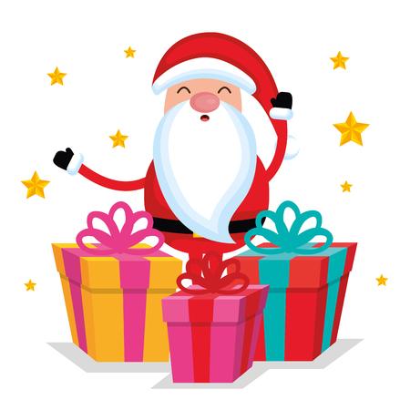메리 크리스마스 산타 클로스 만화 선물 상자 벡터 일러스트 레이션