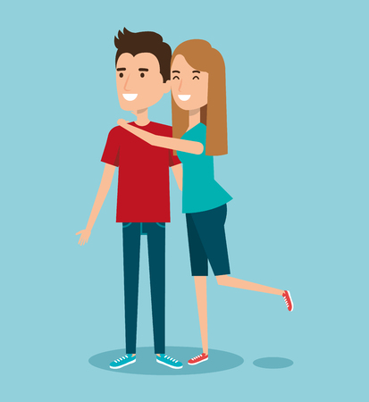 young happy couple gesturing smile on blue background vector illustration