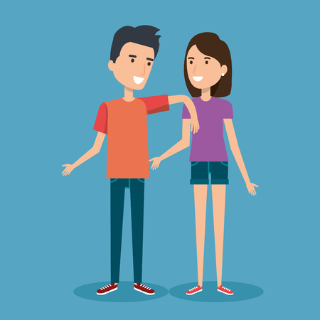 having fun: young happy couple gesturing smile on blue background vector illustration