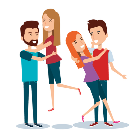 two couples of young people together cartoon style vector illustration