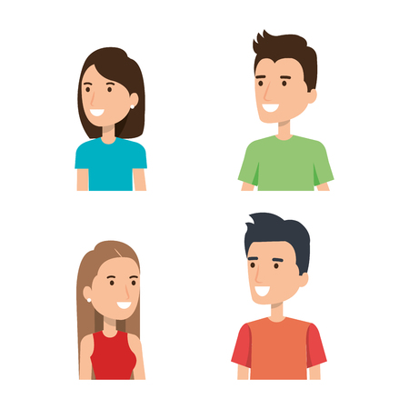 young people face portraits from woman and man vector illustration Imagens - 84554069