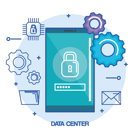 data center mobile phone security password vector illustration