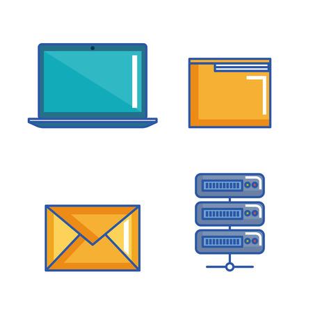 data center server interface information technology vector illustration Çizim