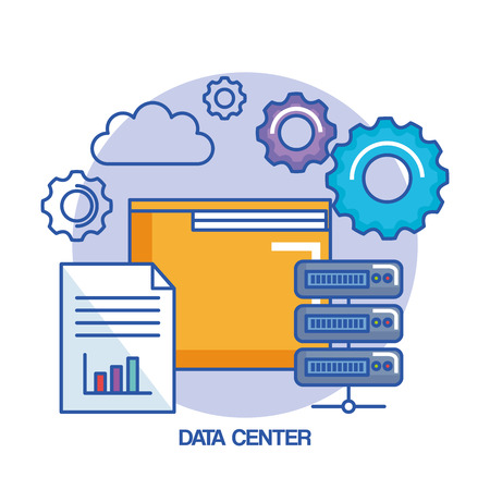 folder gear data center web hosting cloud computing vector illustration