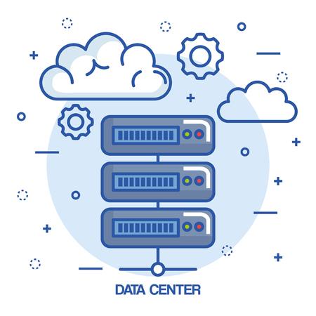 data center cloud connection hosting server computer information vector illustration Çizim