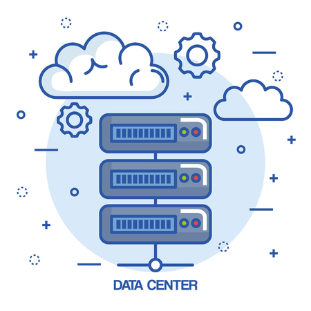 data center cloud connection hosting server computer information vector illustration Illustration