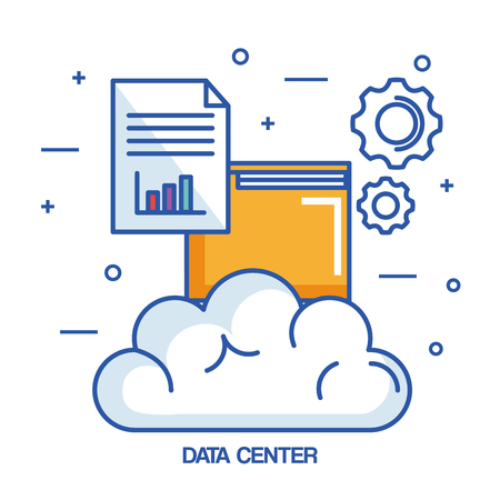 data center cloud file archive document vector illustration
