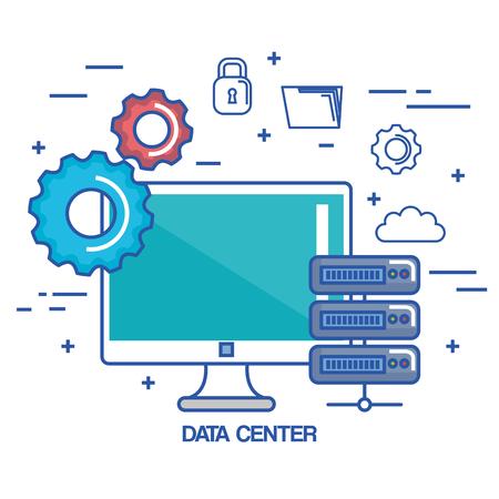 data center pc network server communication connection technology vector illustration Çizim