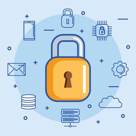 보안 데이터 센터 정보 호스팅 기술 벡터 일러스트 레이션
