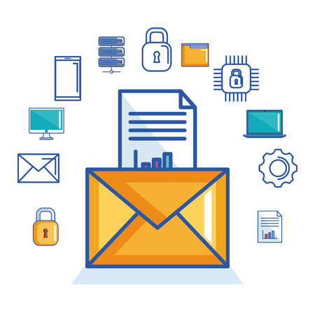 email message document security cyber digital vector illustration Çizim