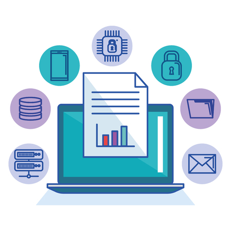 laptop technologie bestand document opslag internet bescherming systeem vectorillustratie