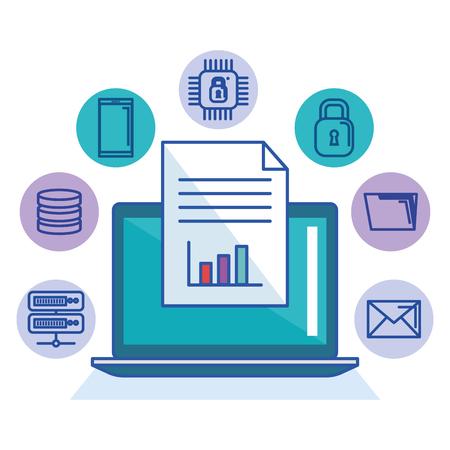 Laptop Technologie Datei Dokumentenspeicherung Internet-Schutzsystem-Vektor-Illustration Standard-Bild - 84554148