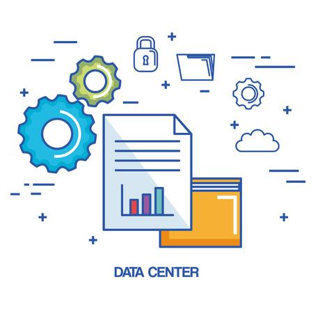 データ センター フォルダー ファイル アーカイブ セキュリティ クラウド ネットワーク ベクトル図