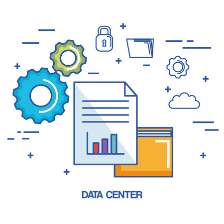 data center folder file archive security cloud network vector illustration