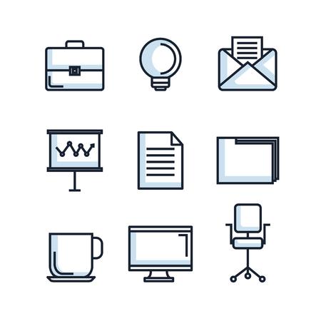 オフィス文房具用品消耗品 アイコンセット ベクトルイラスト