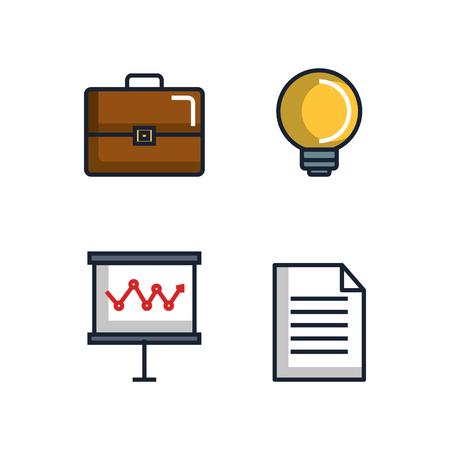 事務文具用品供給アイコン セット ベクトル図