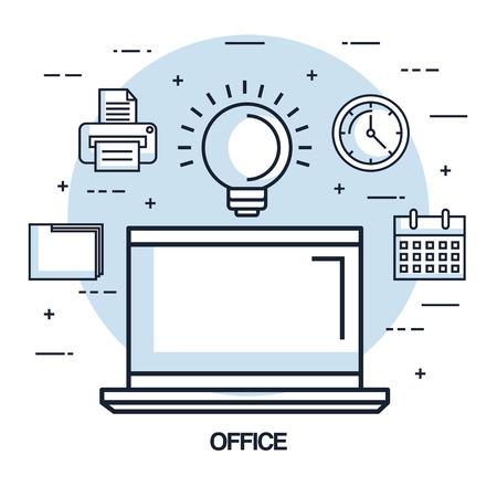 office laptop idea work business element vector illustration