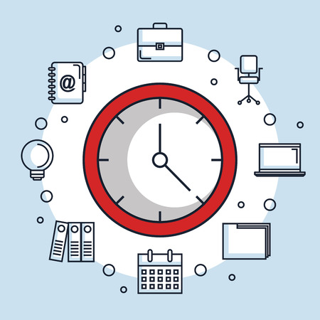 red round clock time office business icons vector illustration