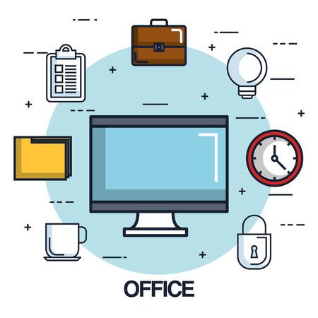 사무실 컴퓨터 모니터 시계 폴더 서류 가방 점검표 벡터 일러스트 레이션