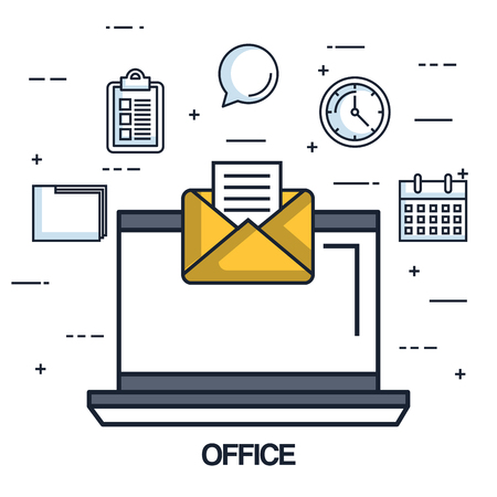 office laptop email message note work vector illustration