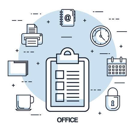 kantoor checklist papier klok kalender printerbestand vectorillustratie