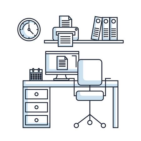 office workspace desk chair pc printer clock calendar vector illustration