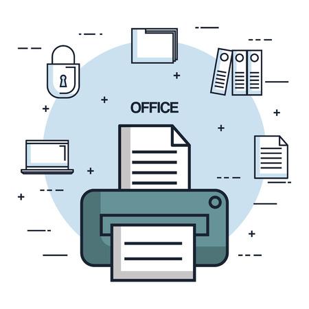 オフィスのプリンター紙ドキュメントのコピー作業オブジェクト アイコンのベクトル図