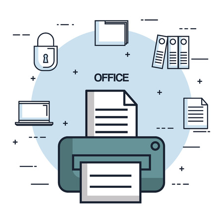 office printer paper document copy work object icon vector illustration 向量圖像