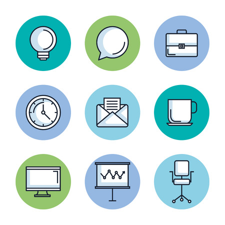 office stationery equipment supplies icon set vector illustration