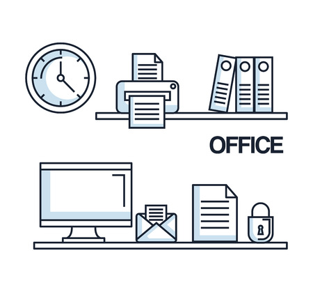 office computer mail paper security clock printer folder supplies vector illustration Çizim