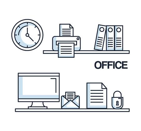 office computer mail paper security clock printer folder supplies vector illustration Ilustração