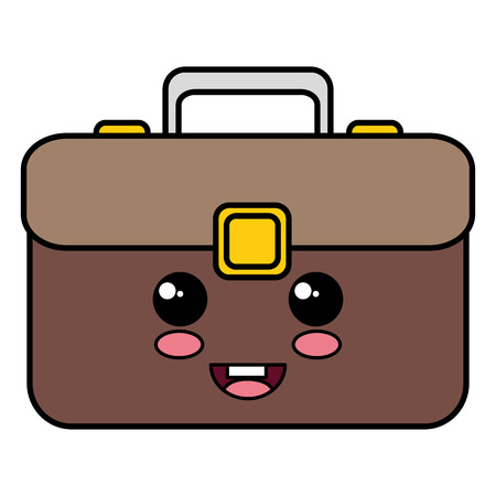 portfolio briefcase kawaii character vector illustration design
