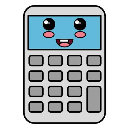 Calculadora Matemáticas Carácter Kawaii Ilustración Vectorial De