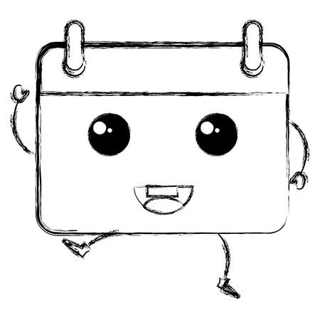 calendar reminder kawaii character vector illustration design Ilustração