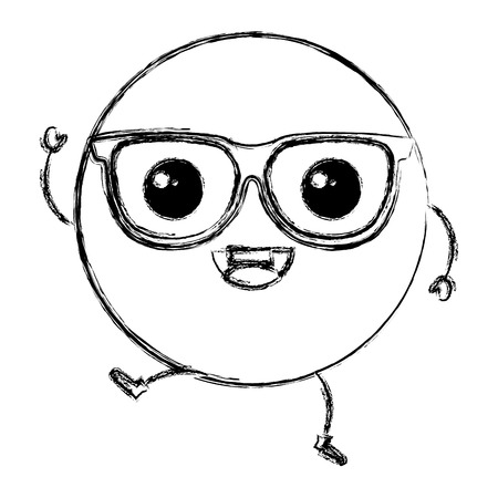이모티콘 안경 가와이 문자 벡터 일러스트 디자인