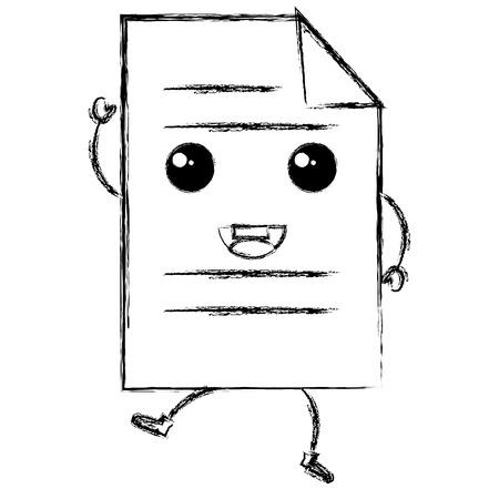 document paper kawaii character vector illustration design